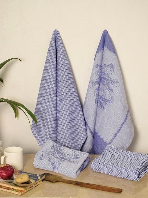 Avira Home Set of 4 Purple Printed Kitchen Towels
