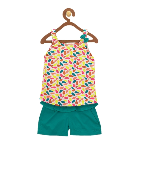 LilPicks Girls Multicoloured Printed Top with Shorts