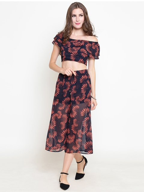 Sera Women Navy Blue & Red Printed Top with Palazzos