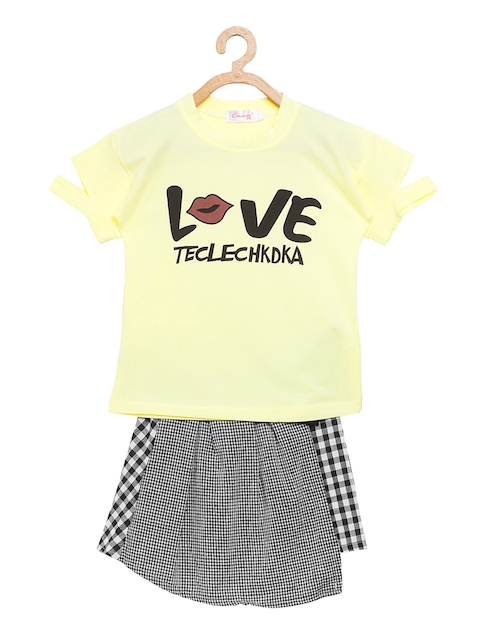 Camey Girls Yellow & Black Printed Top with Skirt