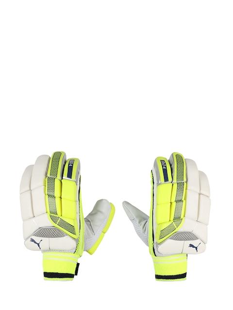 Puma Unisex Fluorescent-Green & White EVO 4 Leather Batting Gloves