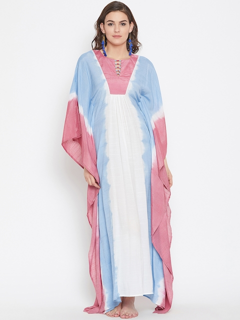 The Kaftan Company Women Multicoloured Colourblocked Kaftan Cover-Up Dress RW_MD_TIEDYE25