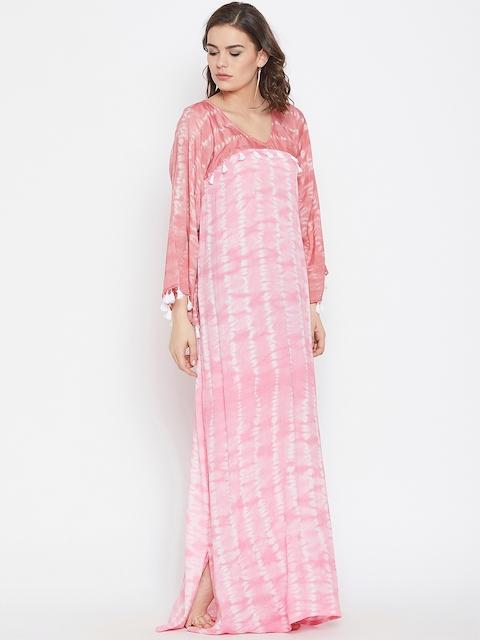 The Kaftan Company Women Pink Printed Kaftan Cover-Up Dress RW_MD_TIEDYE17