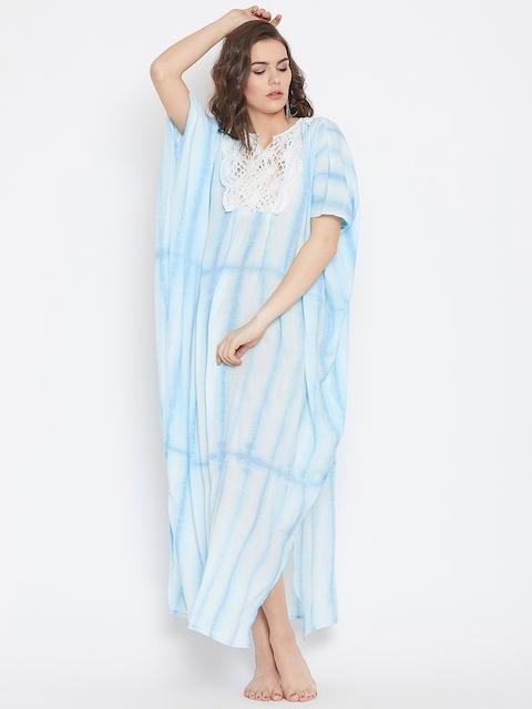 The Kaftan Company Women Blue & White Printed Kaftan Cover-Up Dress RW_MD_TIEDYE18