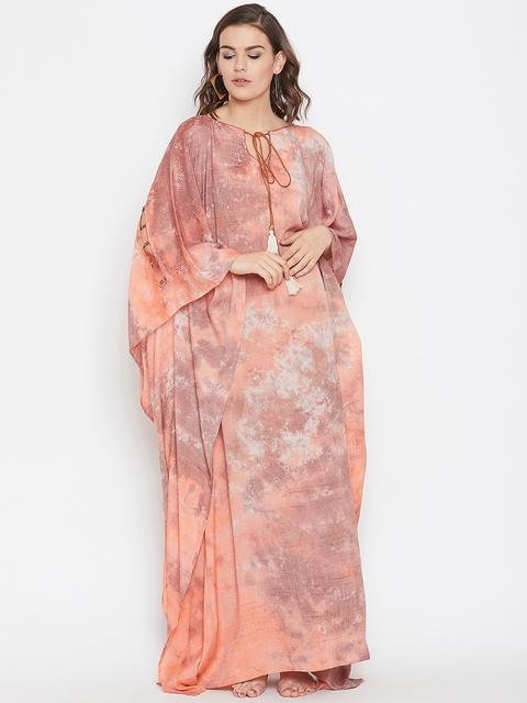 The Kaftan Company Women Orange & Brown Printed Kaftan Cover-Up Dress RW_MD_TIEDYE19