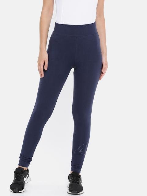 4F Women Blue Solid Ankle-Length Leggings