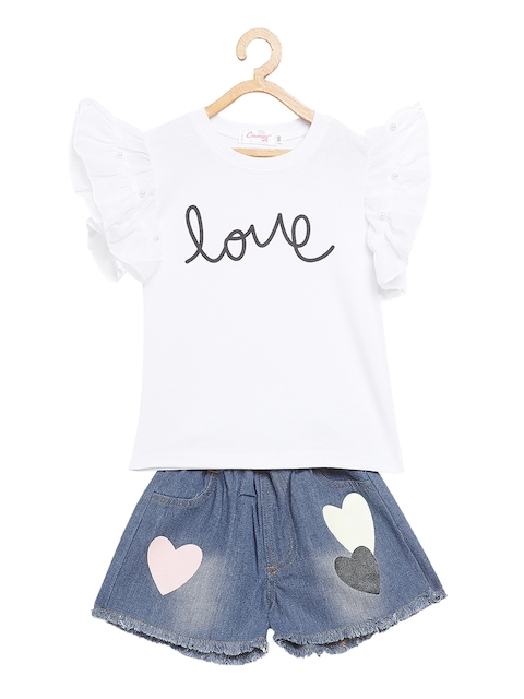 Camey Girls White & Blue Printed Top with Shorts