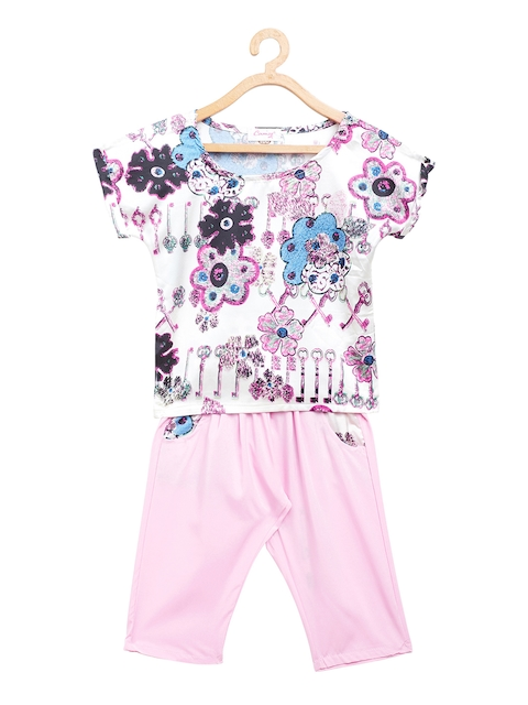 Camey Girls White & Pink Printed Top with Trousers