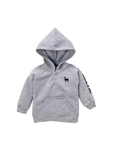 Simply Unisex Grey Solid Hooded Sweatshirt