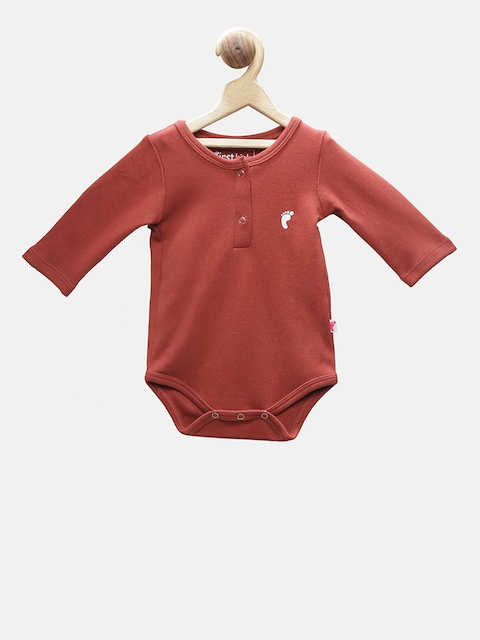 First Kick Boys Rust-Coloured Solid Romper