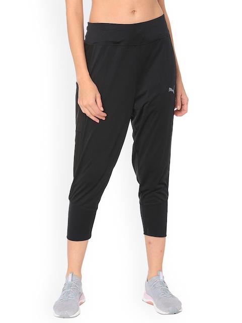 Puma Women Black Solid Straight-Fit Trackpants
