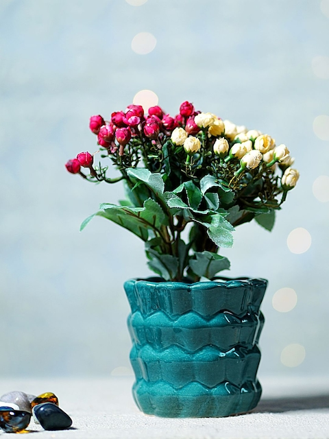 Unravel India Blue Ceramic Bucket Table-Top Planter