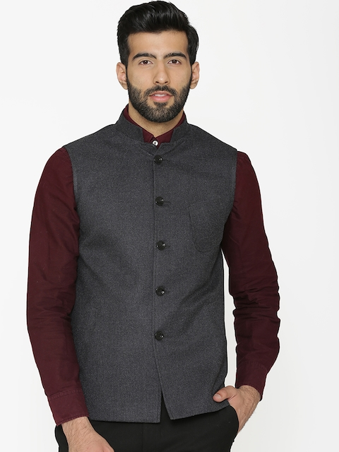 Wintage Men Black Solid Woven Nehru Jacket