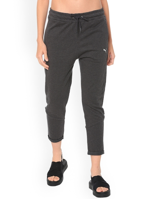 Puma Women Grey Solid Straight-Fit Trackpants