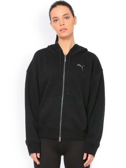 Puma Women Black Solid Hooded Sweatshirt