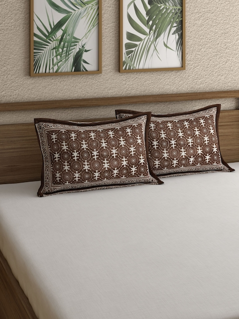 Rajasthan Decor Brown Set Of 2 Pillow Covers