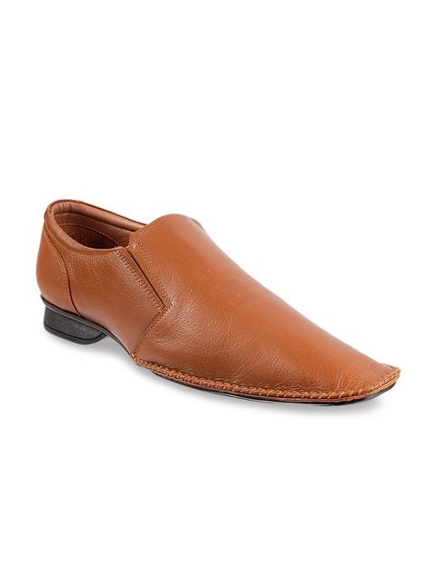 Metro Men Tan brown Leather Formal Slip-On Shoes