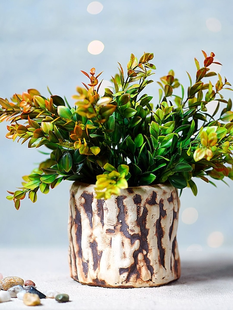 Unravel India Brown Ceramic Cylindrical Table Top Planter