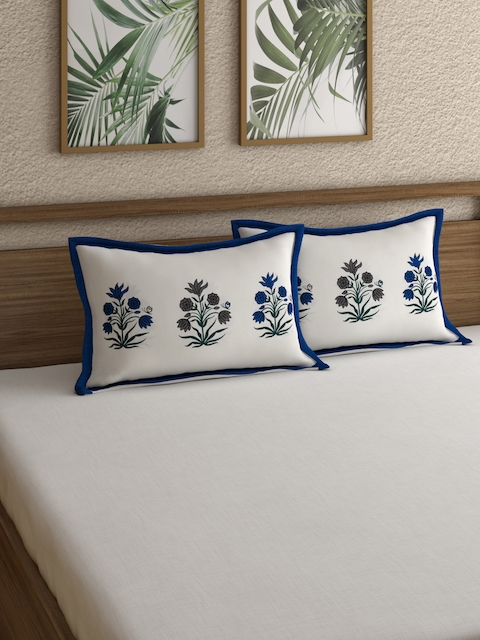 Rajasthan Decor Set of 2 White & Navy Blue Printed Pillow Covers