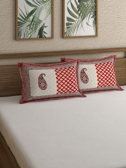 Rajasthan Decor Screen Print Red and White Set Of Two Pillow Covers