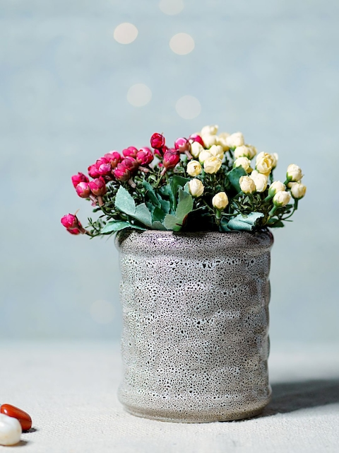 Unravel India Grey Ceramic Cylindrical Table-Top Planter