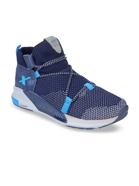 Sparx Men Navy Blue Mesh Mid-Top Running Shoes