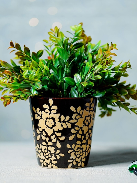 Unravel India Brown & Black Ceramic Bucket Table-Top Planter