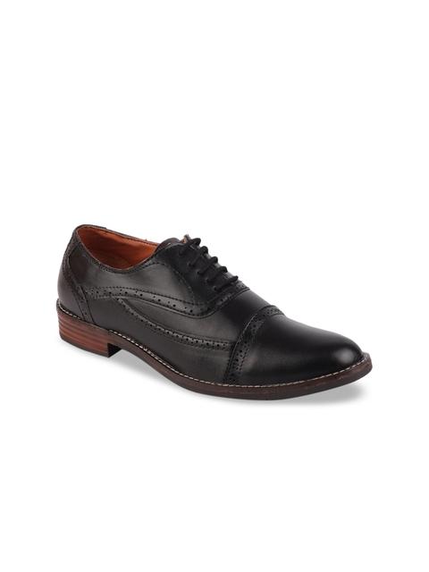 FAUSTO Men Black Formal Brogue Shoes