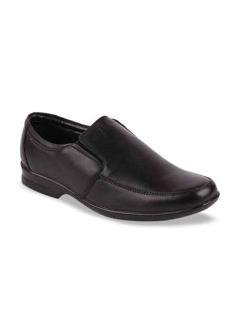 FAUSTO Men Black Leather Formal Slip-On Shoes