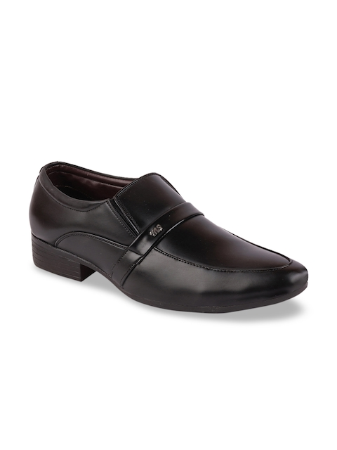 FAUSTO Men Black Solid Formal Slip-Ons