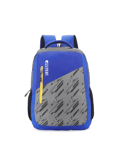 2 STRAP Unisex Blue & Grey Colourblocked Backpack