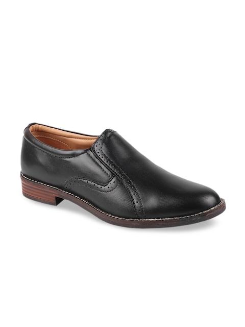 Fausto Men Black Solid Formal Slip On