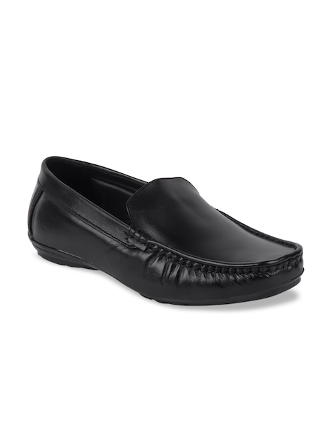 FAUSTO Men Black Leather Loafers