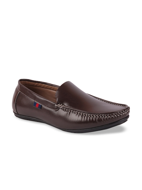 FAUSTO Men Brown Leather Loafers