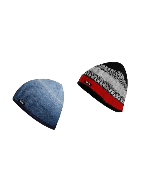 Knotyy Men Pack of 2 Self Design Beanie