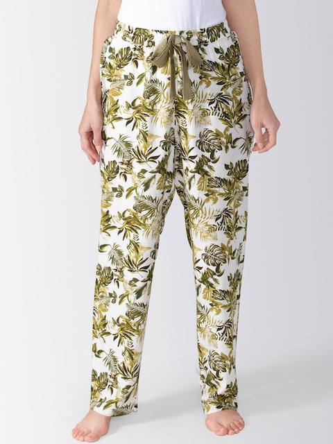 ADORENITE Women Off-White & Green Printed Pyjamas  BO012