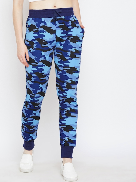 CHROME & CORAL Women Blue Printed Joggers LWR_5001