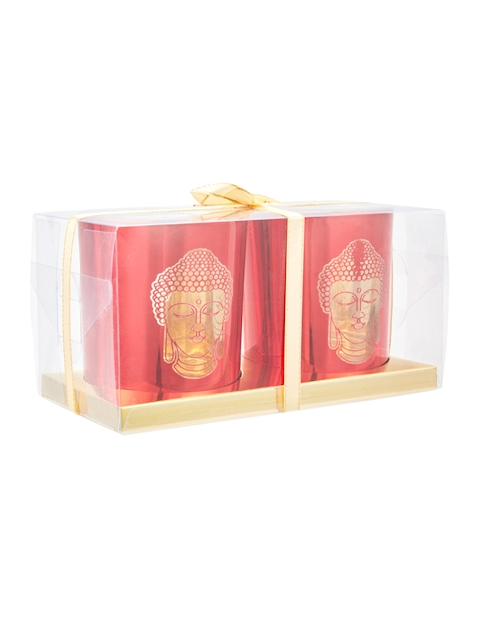 Living Essence Set of 2 Red Candle Holders