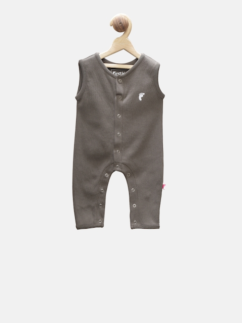 First Kick Boys Olive Brown Solid Rompers