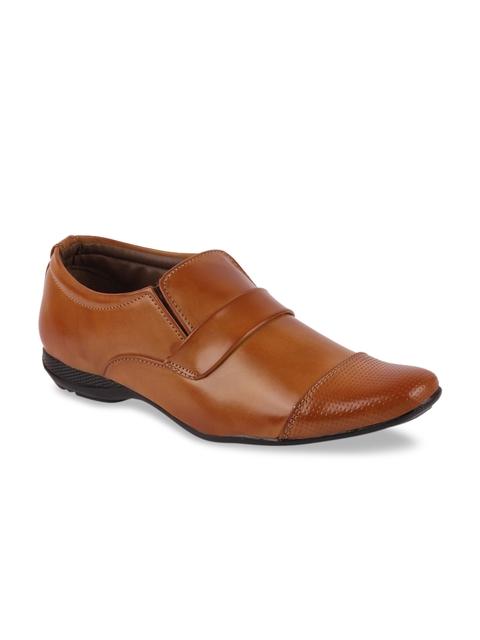 FAUSTO Men Tan Brown Textured Formal Slip-Ons