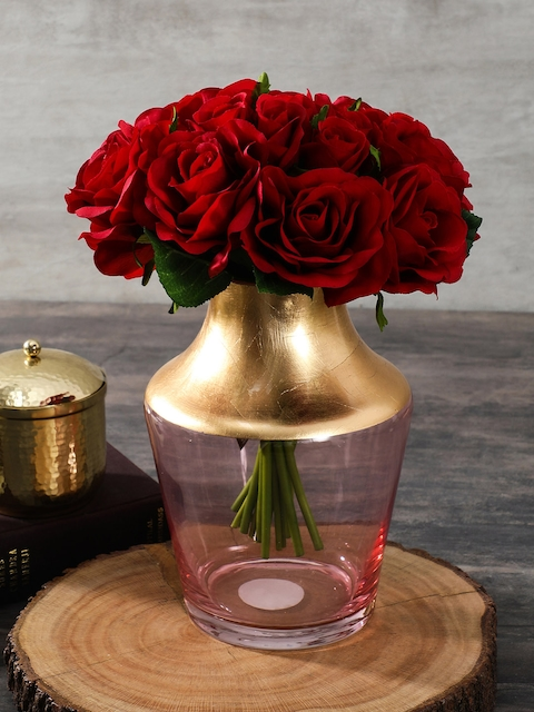 Pure Home and Living Pink & Gold-Toned Vase