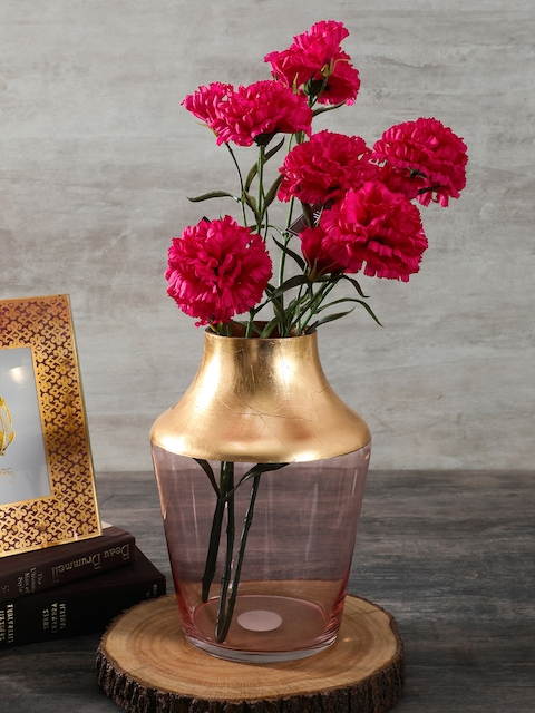 Pure Home and Living Pink & Gold-Toned Glass Flower Vase