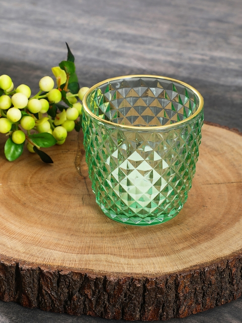 Pure Home and Living Set of 4 Green Textured Candle Holders