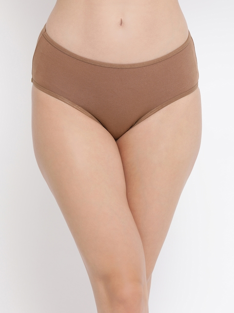 Clovia Women Nude-Colored Solid Hipster Briefs PN3255P24XL