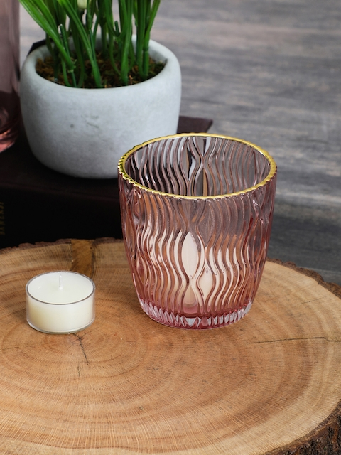 Pure Home and Living Set of 4 Pink Textured Candle Holders