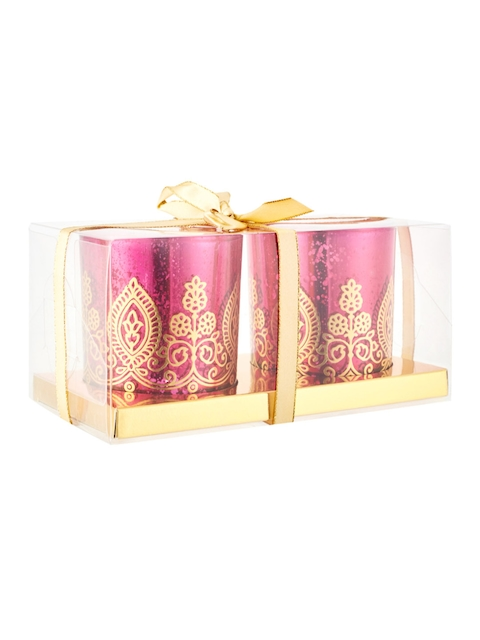 Living Essence Set of 2 Pink Candle Holders