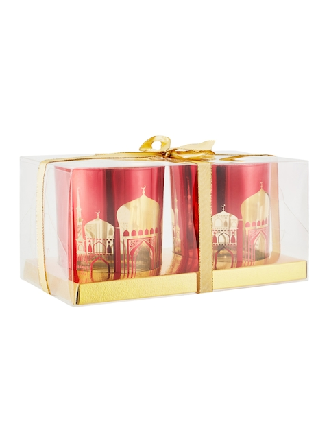 Living Essence Set of 2 Red & Gold-Toned Candle Holders