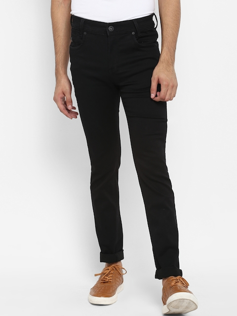 Mufti Men Black Regular Fit Mid-Rise Clean Look Stretchable Jeans