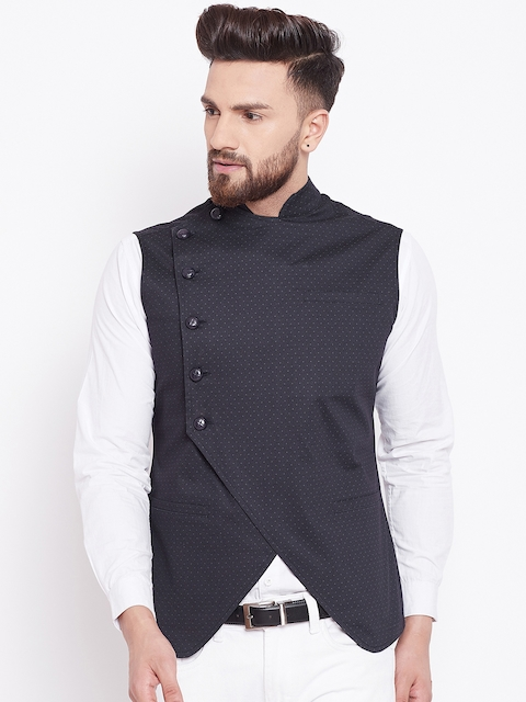 Hypernation Men Black Printed Woven Nehru Jacket