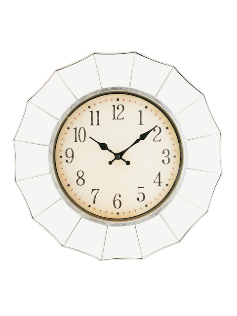 Living Essence Beige Round Solid Analogue Wall Clock